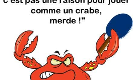 Je sais bien qu'on n'est pas loin de la mer, mais c'est pas une raison pour jouer comme un crabe!
