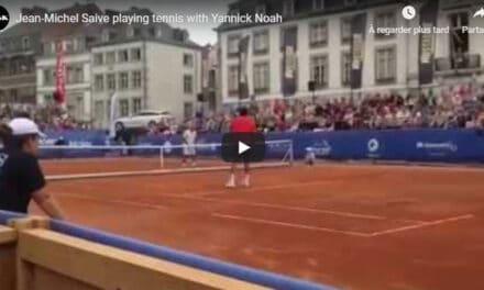 Jean-Michel Saive joue au tennis avec Yannick Noah