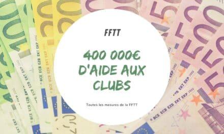 400 000€ d'aide aux clubs de tennis de table