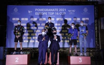 Médaille de Bronze au Top 16 Européen tennis de table 2021 pour Emmanuel lEBESSON